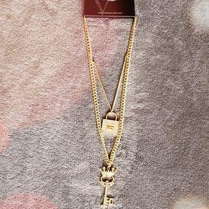 Rhinestone Lock-N-Key Pendant Necklace